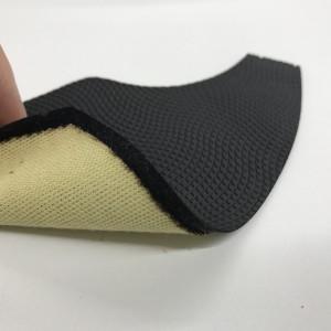 耐切創性アラミド生地を滑り止め の効いた合成繊維に熱溶着。切り裂け防止効果があります。